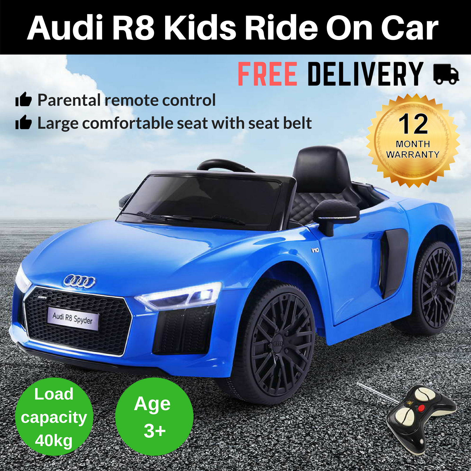 Suitable For Kids Aged Three And Above, The Audi R8 Ride On Car Makes An  Awesome Gift For Birthdays, Special Events Or Christmas.